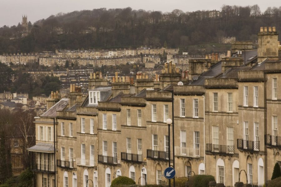 A row of Georgian houses in Bath